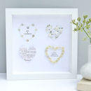 Personalised Four Wedding Hearts Framed Art