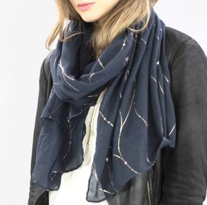 Monogrammed Midnight Blue And Gold Scarf - gifts for her
