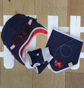 Boy's Aviator Hat, Bib And Gloves Set