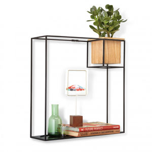 Black Cube Shelf With Planter - flowers, plants & vases