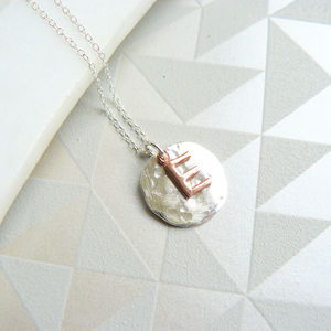Hammered Pendant With Rose Gold Letter - women's jewellery
