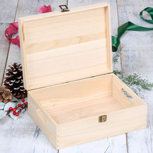 12' Unvarnished Wooden Box - new in home