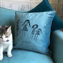 Child's Drawing Personalised Velvet Cushion