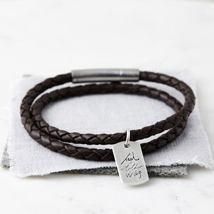 Mens Silver And Leather Handwriting Signature Bracelet
