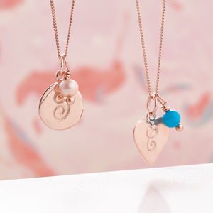 Rose Gold Necklace With Monogram And Birthstones