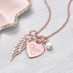 Personalised Rose Gold Heart And Angel Wing Necklace - children's jewellery