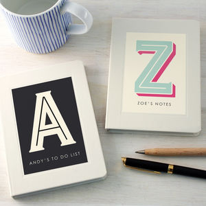 Personalised Typographic Notebook - gifts for her sale