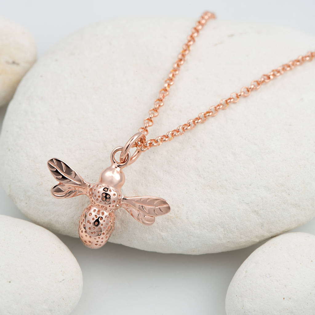 honey bee drop necklace with silver
