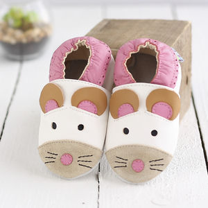 Mouse Soft Leather Baby Shoes - socks, tights & booties