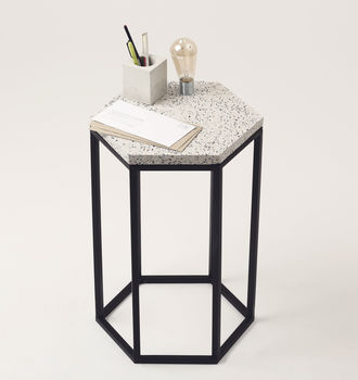 Hexagonal Terrazzo Side Table
