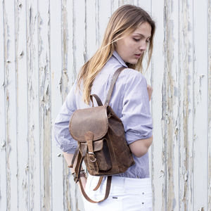Small Leather Backpack - backpacks