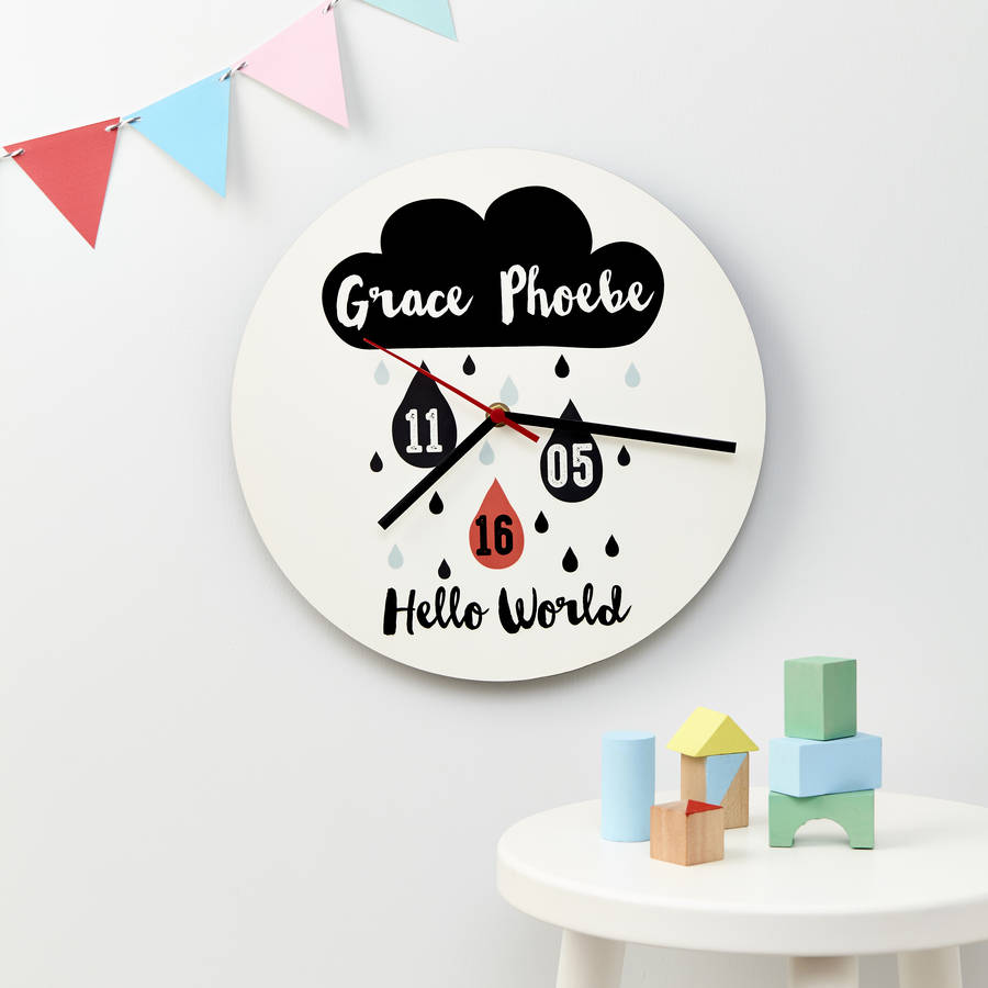 New Baby Cloud Nursery Wall Clock
