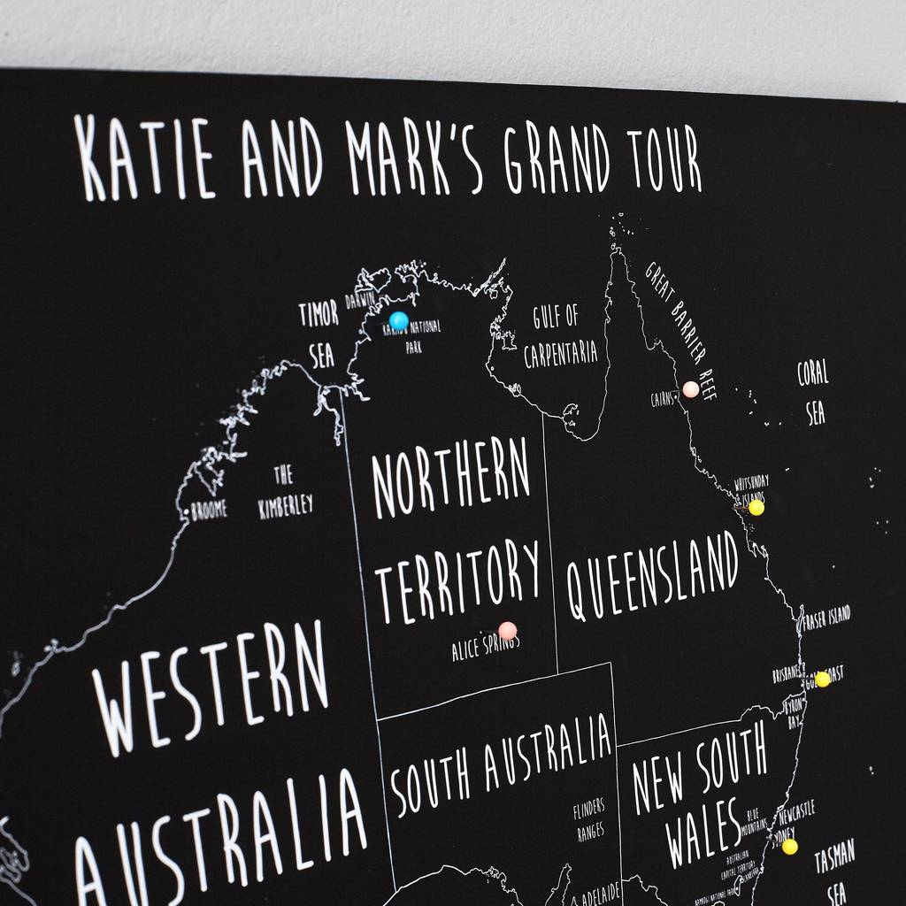 Personalised australia pinboard map by louisa elizabeth personalised australia pinboard map gumiabroncs Choice Image