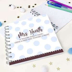 Personalised Dotty Teacher Notebook