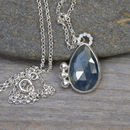 Rose Cut Sapphire Necklace Set In Sterling Silver
