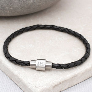 Mens Personalised Clasp Slim Leather Bracelet