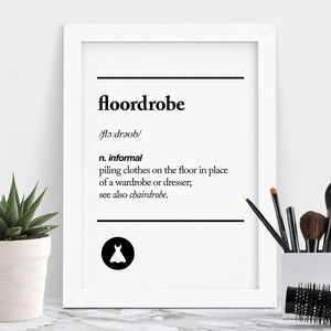 'Floordrobe' Typography Print - summer sale