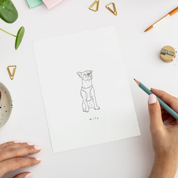 Personalised Illustrated Monochrome Pet Portrait