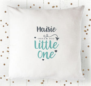 Personalised Dream Big Little One Cushion Cover
