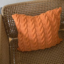 Apricot Plaited Cable Knit Cushion