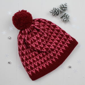 Arrow Knitted Pom Pom Hat In Red And Pink