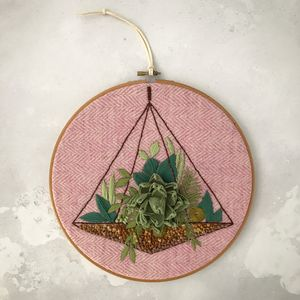 Embroidered Terrarium Garden - mixed media & collage