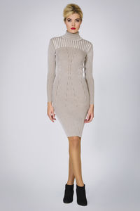 Cleo Oatmeal Two Tone Ribbed Knit Dress - women's fashion