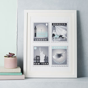 Favourite Destinations Stamp Art Print - gifts for him