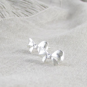 Sterling Silver Bow Ear Studs