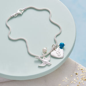 Silver Bracelet With Swallow Initial And Birthstone - children's accessories