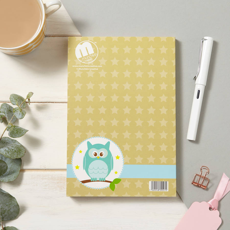 Creative Design To Cover Notebook ~ Owl and stars soft cover notebook by munchkin creative
