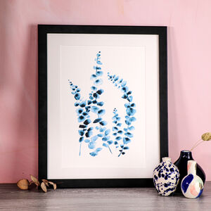 Limited Edition Blue Botanical Eucalyptus A4 Print