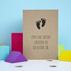 Baby Feet Silhouette Christening Card