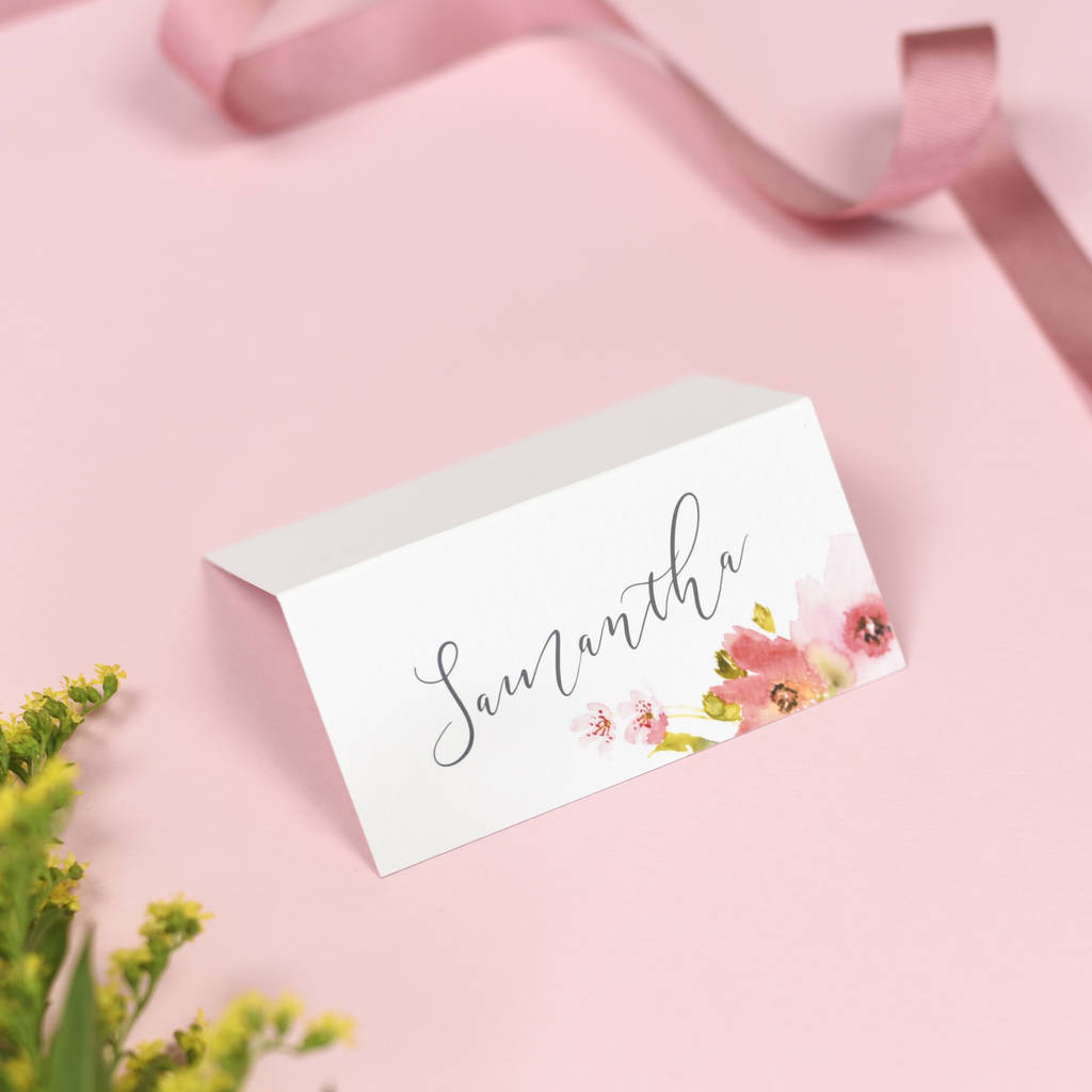 watercolour floral juliette wedding name place cards by project