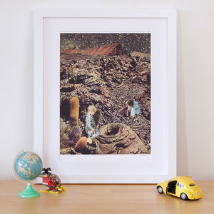 'Looking For The Lost Toy' Retro Collage Art Print
