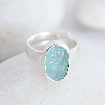 Aquamarine Gemstone Adjustable Ladies Silver Ring