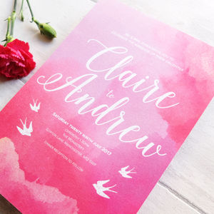 'Pink Could' Wedding Invitation Set