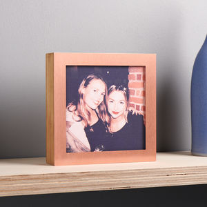 Personalised Copper And Bamboo Changeable Photo Box