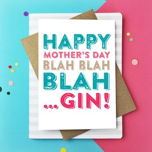 Happy Mother's Day Blah Gin Greetings Card - mother's day cards