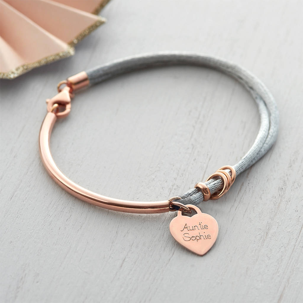 Personalised Silk And Rose Gold Charm Bangle By