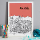 Abu Dhabi in colour 5-Sunset, font style 1, A3 size framed