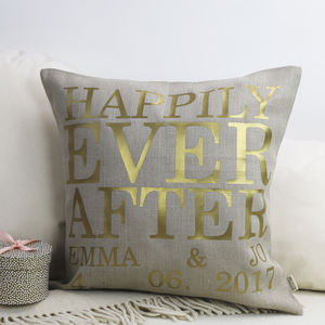 Gold Print Linen Cushion - new in home