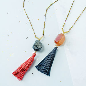Crystal And Tassle Necklace - necklaces & pendants