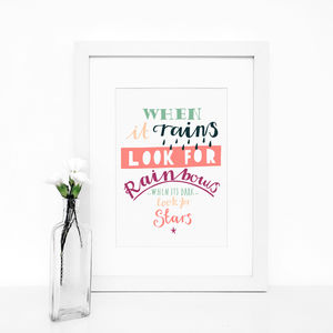 'When It Rains' Typography Giclée Print - posters & prints