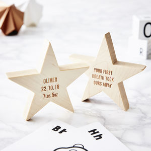 Personalised Baby Keepsake Wooden Star - baby's room