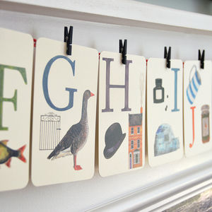 Alphabet Illustrated Flash Learning Cards - decorative letters