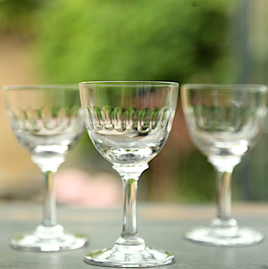 Set Of Six Lens Design Liqueur Glasses