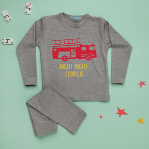 Fire Engine Personalised Kids Pyjamas