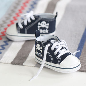 Pirate Skull High Tops Navy - gifts for babies