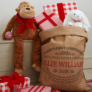 Personalised Baby's First Christmas Sack - christmas decorations